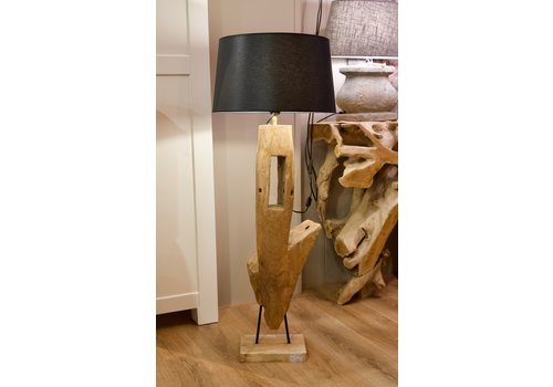 Vloerlamp ornament hout 2