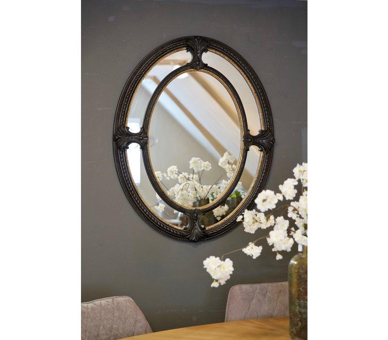 Spiegel ovaal zwart/goud
