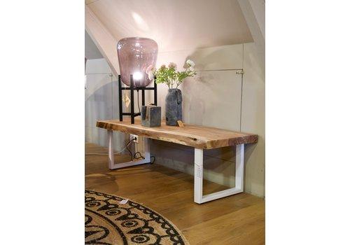 UrbanSofa Live edge salontafel wit onderstel
