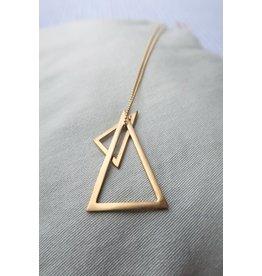 Mus in een Plas Halsketting lang met bolletjesketting, goudkleur, 80cm, 2 driehoeken