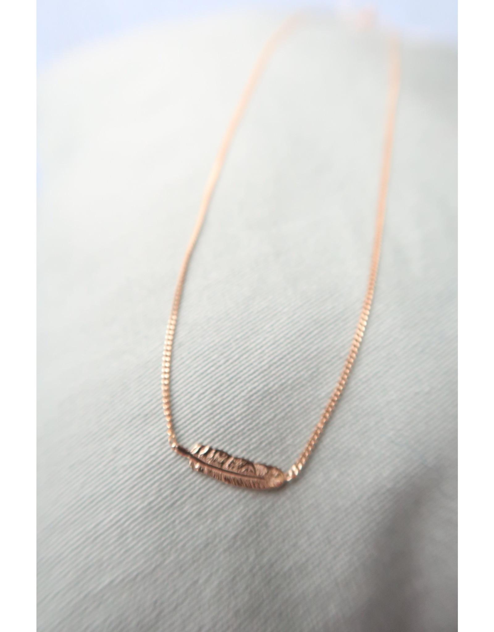 Halsketting verguld zilver met pluim, 44cm