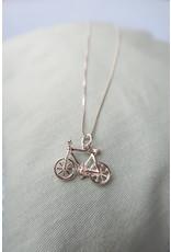 Halsketting zilver met fiets, 45cm