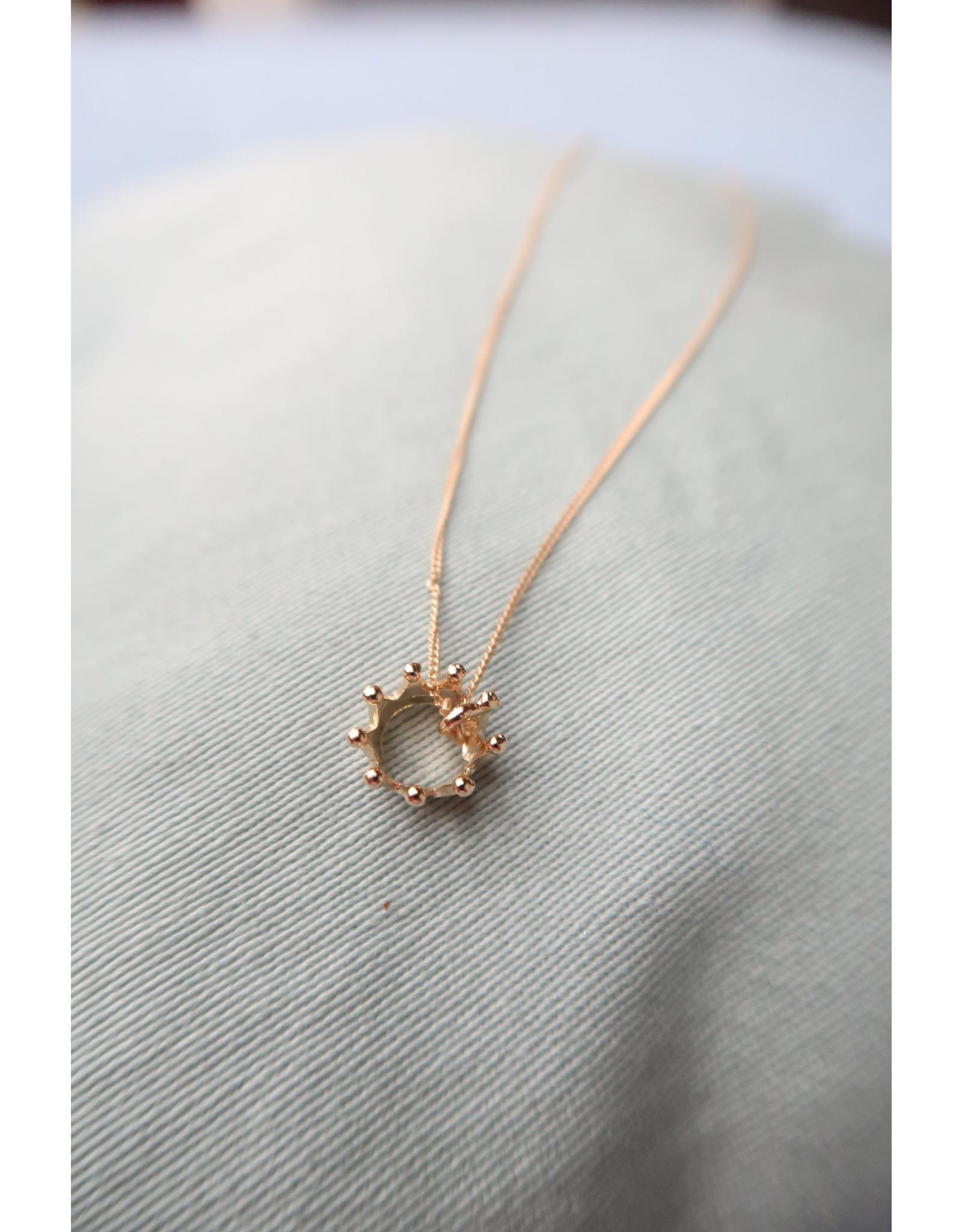 halsketting verguld zilver met kroon, 50cm
