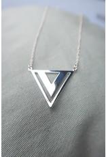 Halsketting zilver met driehoekhanger, 44cm