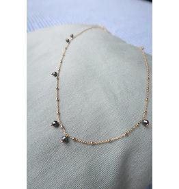 Halsketting zilver verguld met kleine schijfjes, 45cm