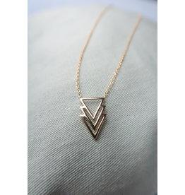 Halsketting verguld zilver met driehoekhanger, 45cm