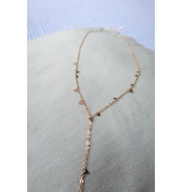 Halsketting RVS goudkleur met kleine driehoekjes, 57cm