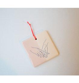 Kesemy design Tegel Roze - Together / Apart - Keramiek - 8 x 8 cm - Handgemaakt