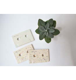 Kesemy design Cassette Bandje - Tiles flies - Mint glazuur - Keramiek - 10 x 6 cm - Handgemaakt