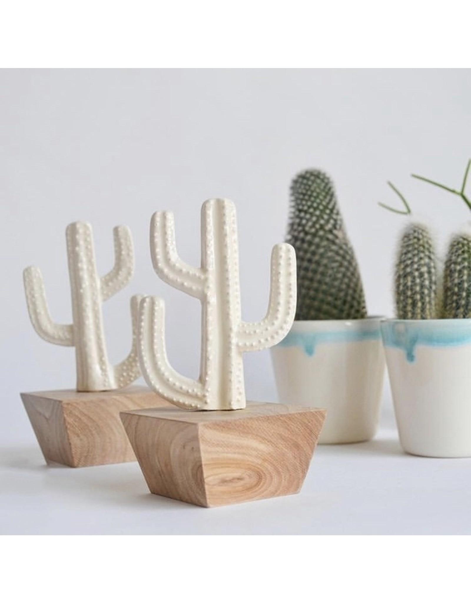 Kesemy design Keramische Cactus met houten pot - Keramiek + Hout - 13 x 6 x 6 cm - Handgemaakt