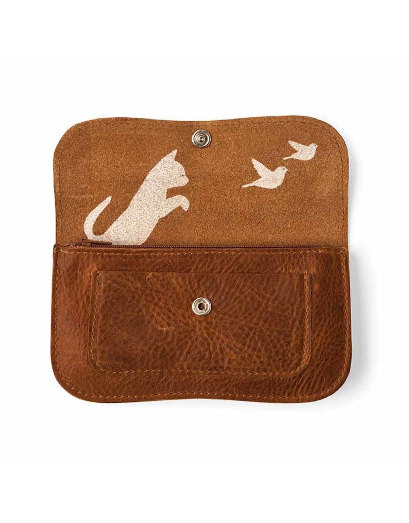 Keecie Cat chase medium wallet cognac used look