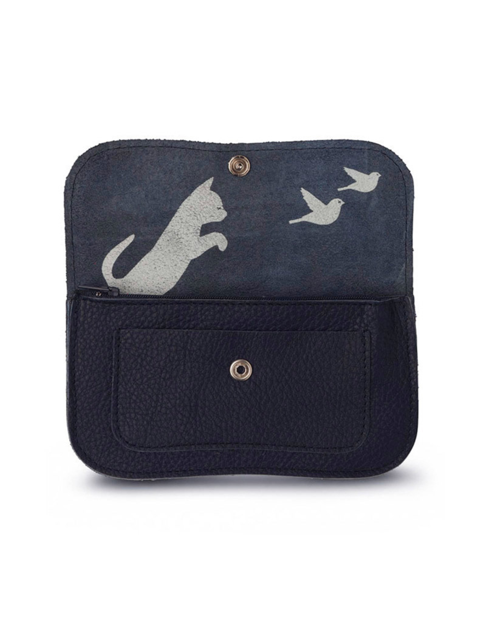 Keecie Cat chase medium wallet ink blue