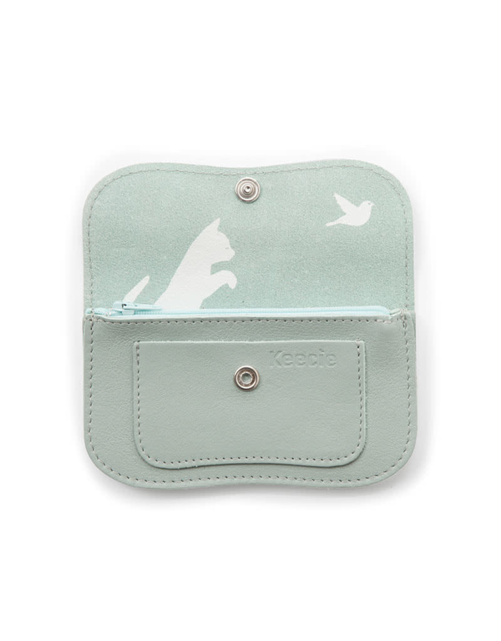 Keecie Cat chase small wallet dusty green