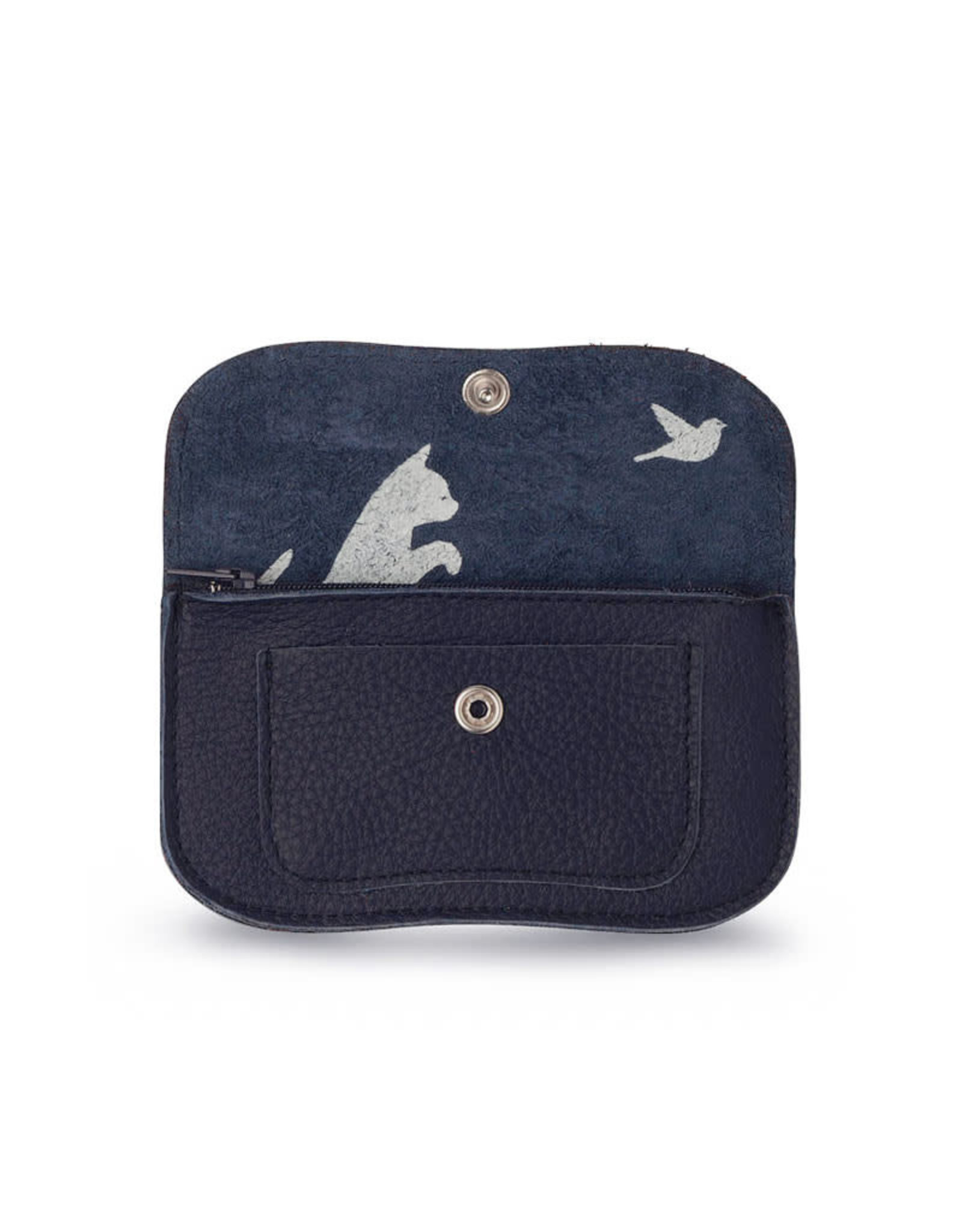 Keecie Cat chase small wallet ink blue