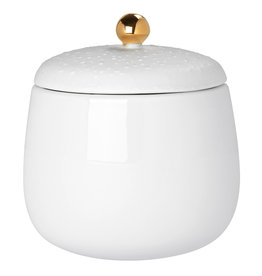 Raeder Potje met deksel wit/ gouden bol M dia:7cm Height:8cm