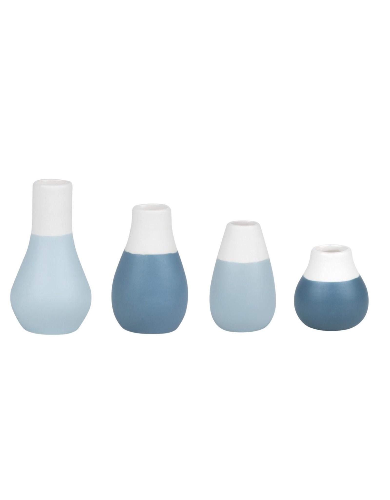 Raeder Plukselvaasjes Blauw - set v 4  - hoogte 4 - 8 cm