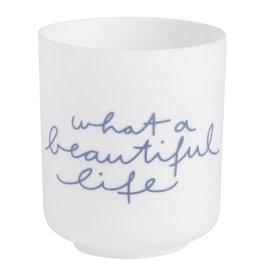 Raeder Theelicht What a beautiful day, wit  met blauw schrift d:6cm H:7cm