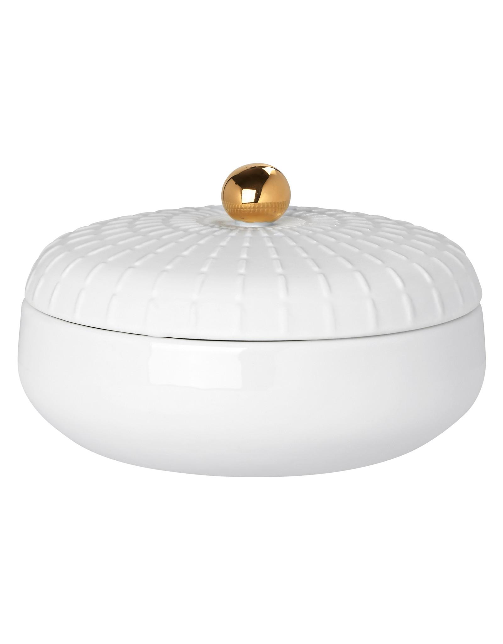 Raeder Potje met deksel wit/ gouden bol L dia:9,5cm Height:6cm