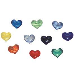 Raeder Klein gelukje - Glazen Hartje - Verschillende kleuren -  3,4 x 3,4 cm