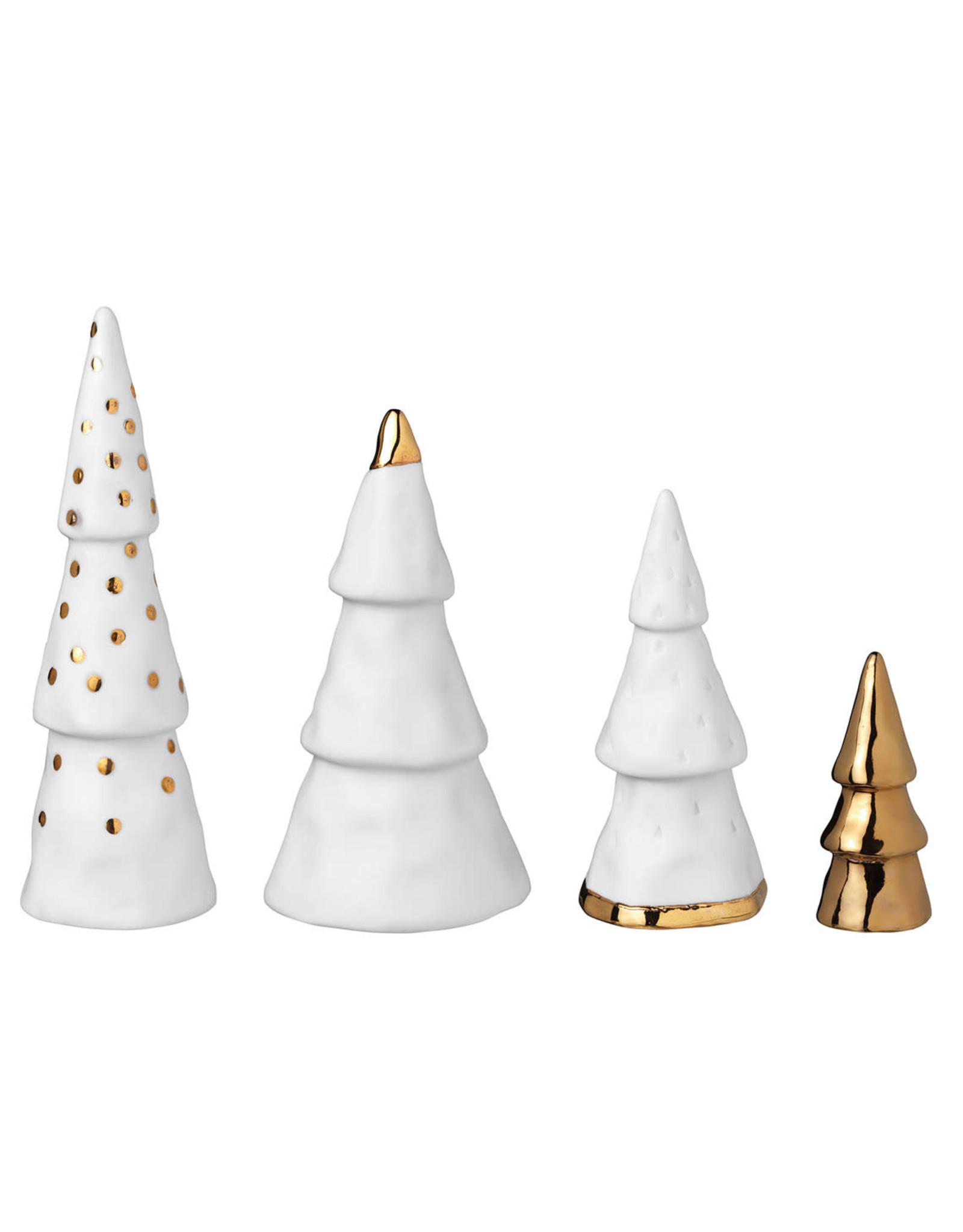 Raeder Dennebomen goud/wit (set v 4) H18cm