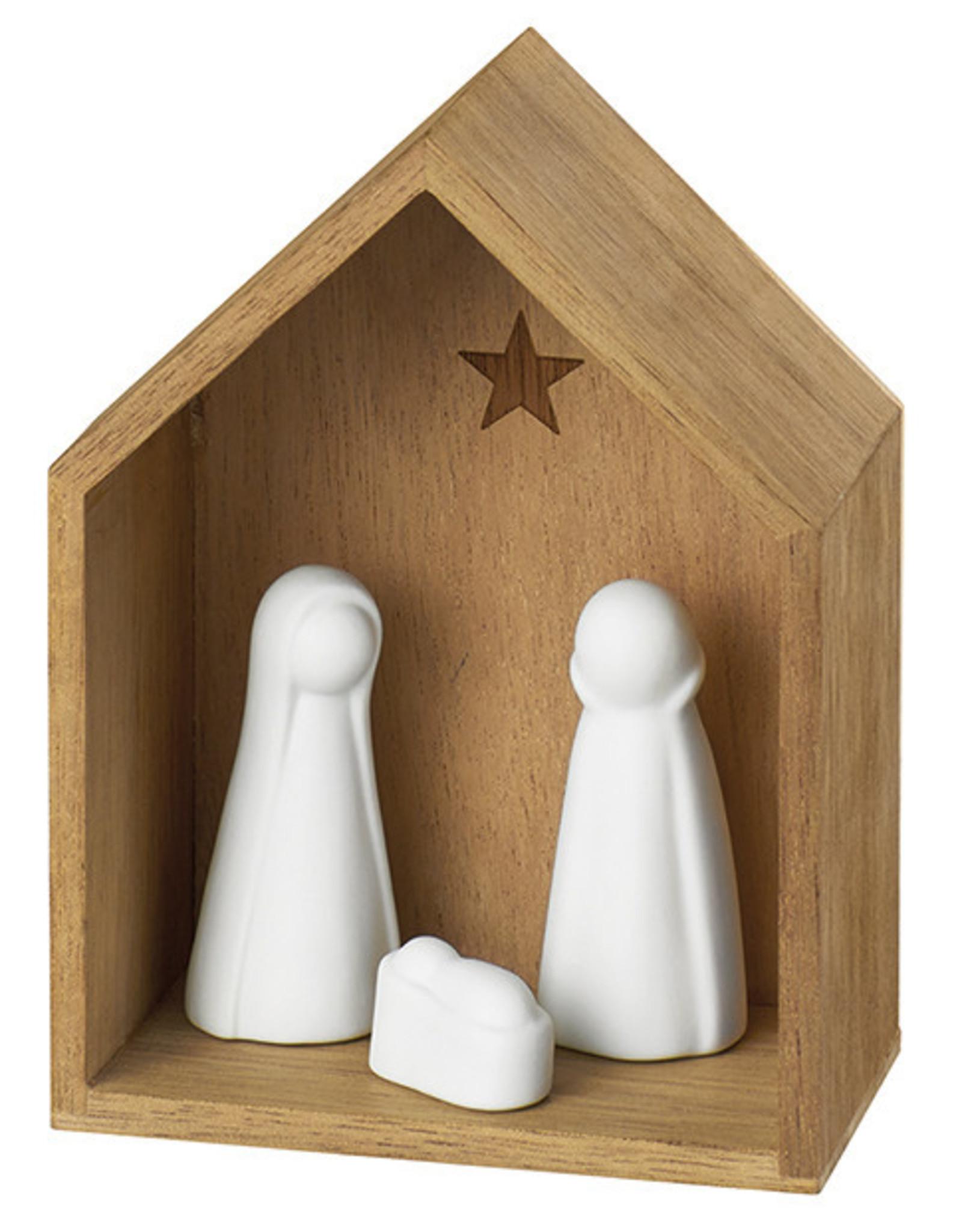 Raeder Kerststal hout met witte figuren Small