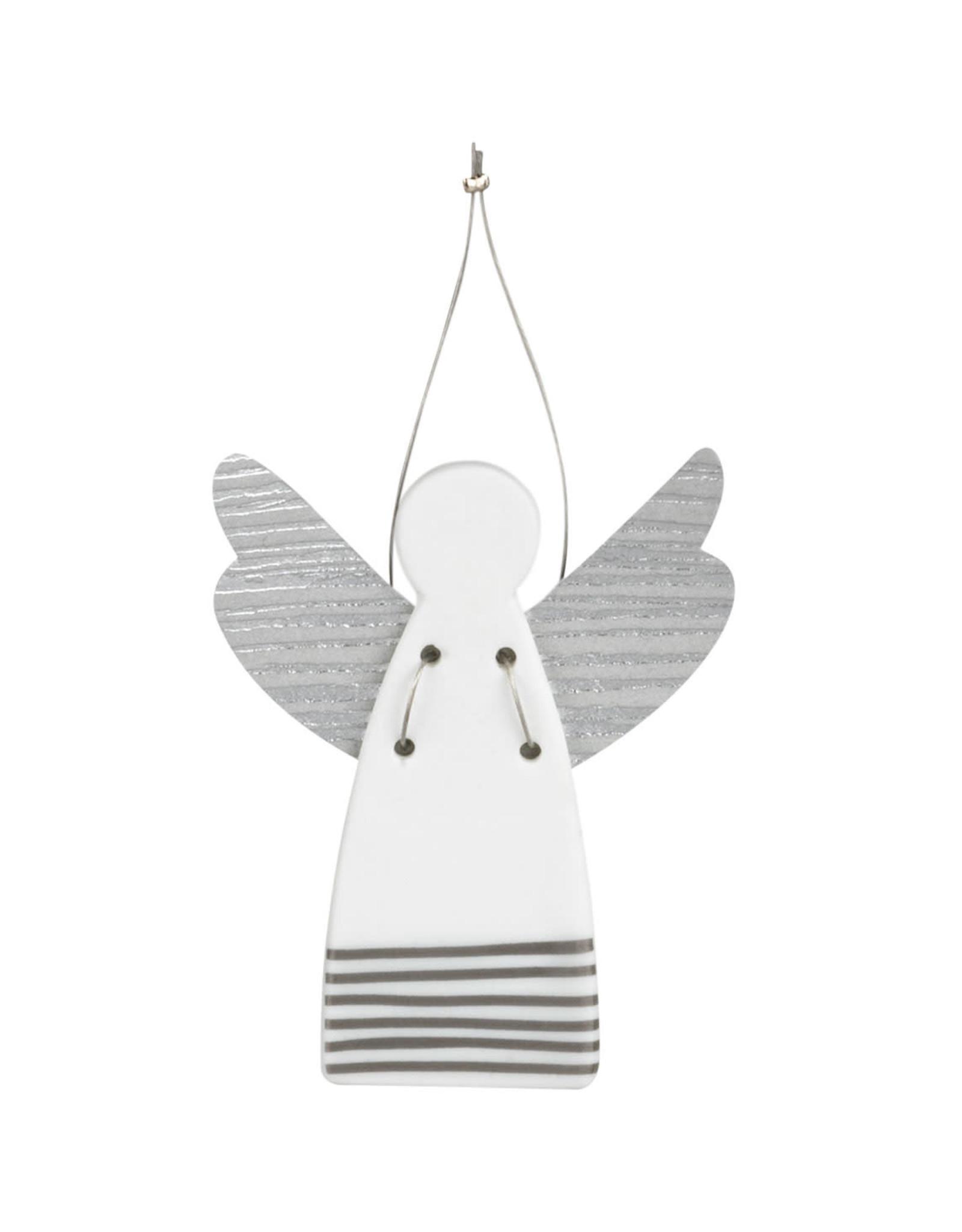 Raeder Beschermengel - Hanger - Mini strepen zilver - 9cm