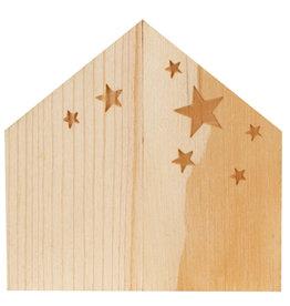 Raeder Kerststal mini houten doosje met deur 5x5x3,5cm