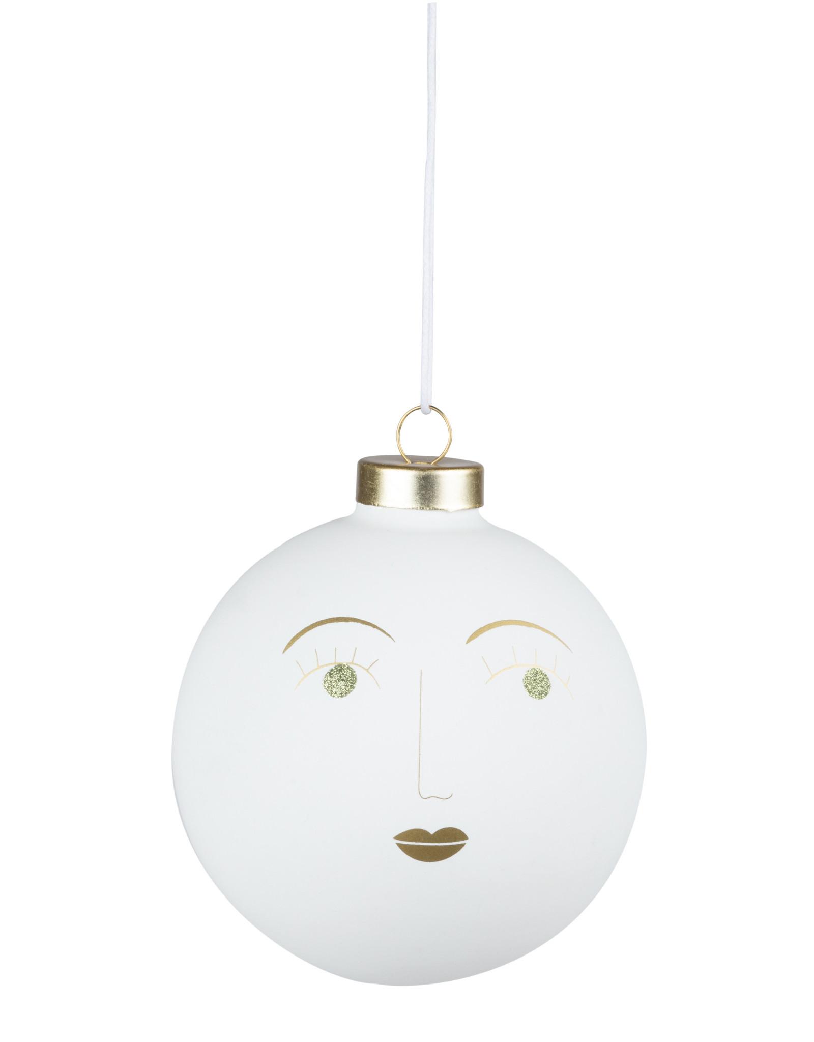 Raeder Kerstbal wit Simone 10cm