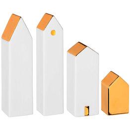 Raeder Huizen wit met goud (set v 4) H: 4-15cm
