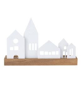 Raeder Lichtobject dorp hout met wit porselein 25x16cm
