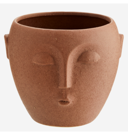 Madam Stolz Bloempot met gezicht - Terracotta mat - Ø 12 x H 10 cm