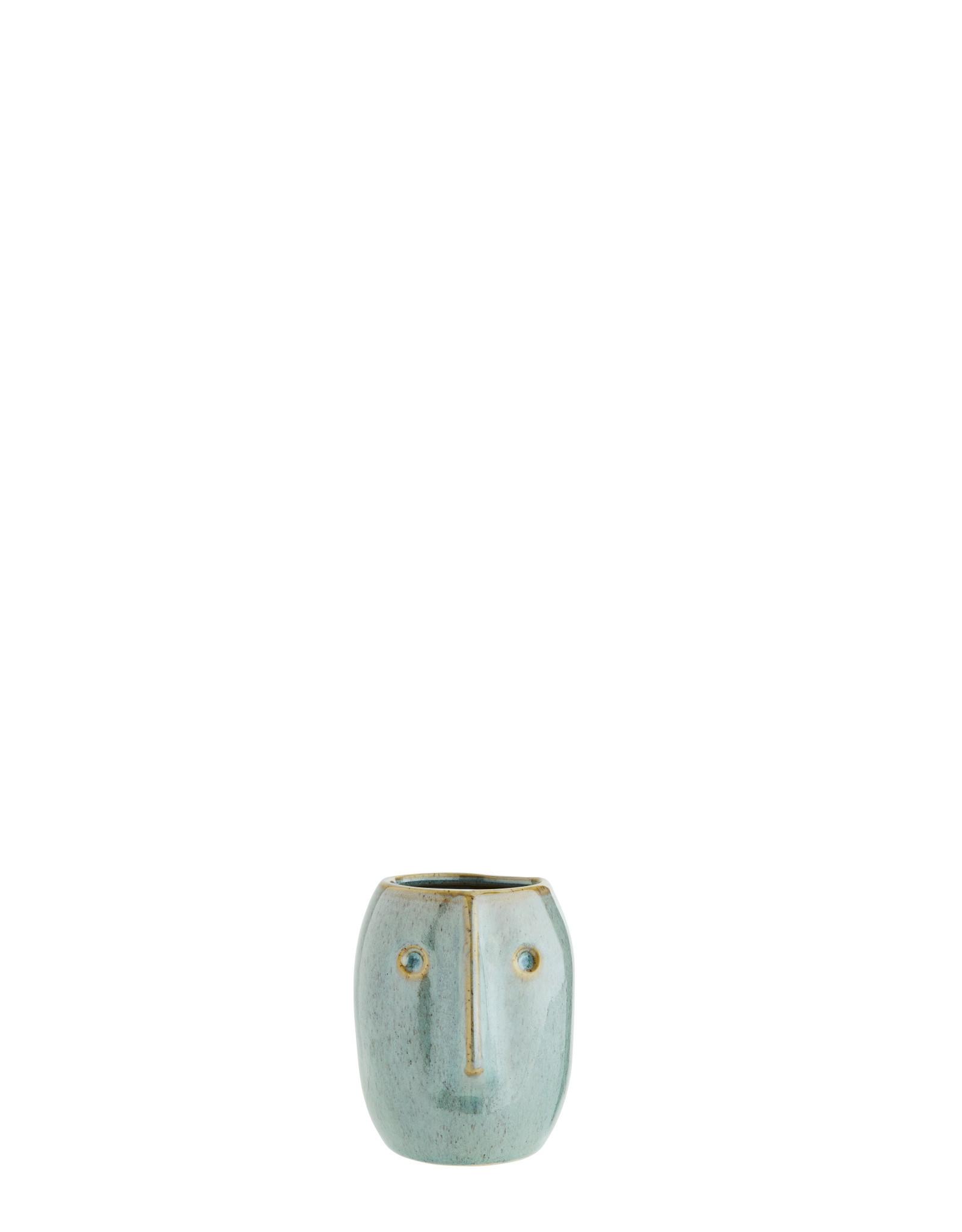 Madam Stolz Bloempot met gezicht - licht groen, naturel - Ø 8 x H 10  cm | Rond