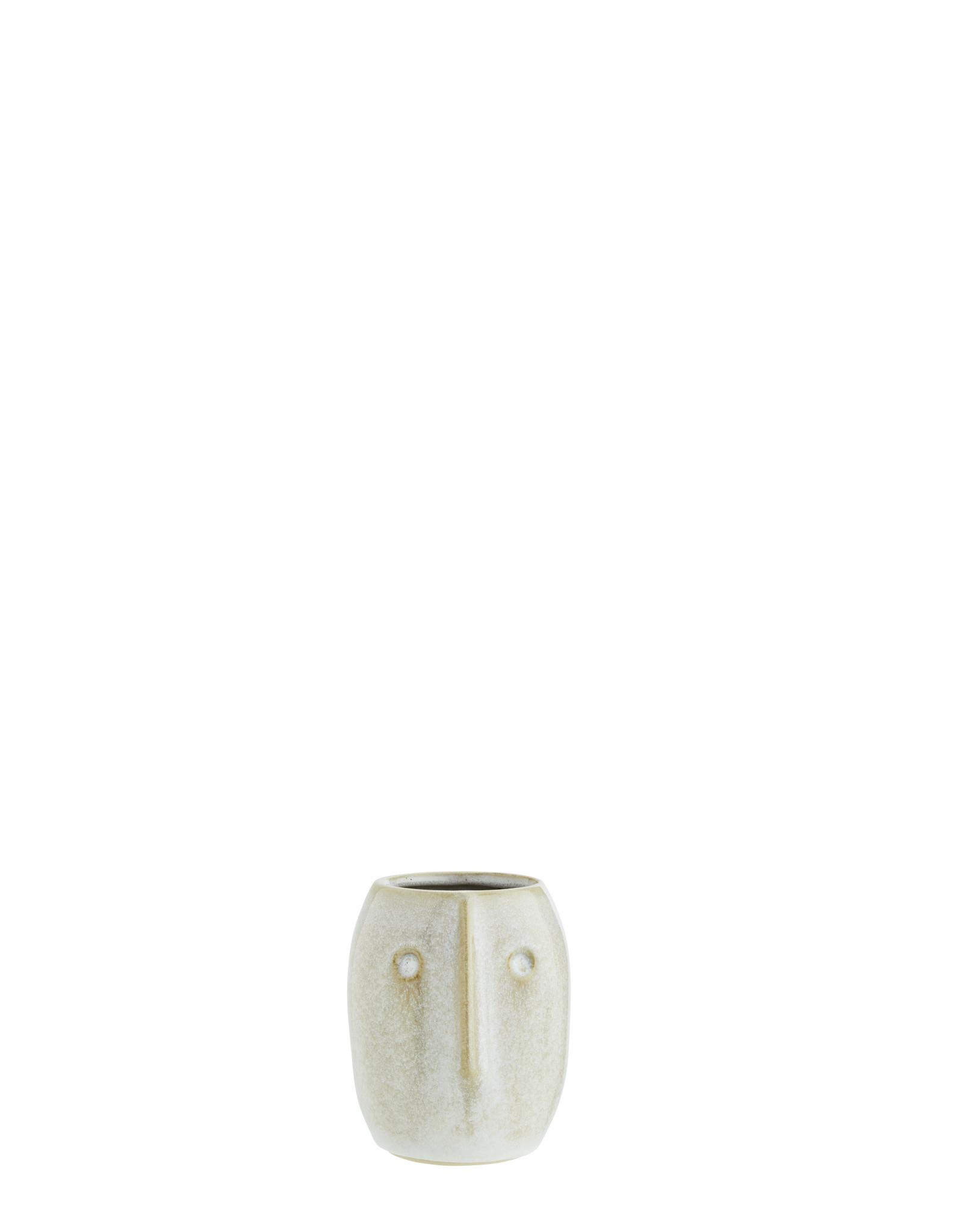 Madam Stolz Bloempot met gezicht - Gebroken wit, naturel - Ø 8 x H 10 cm - Rond