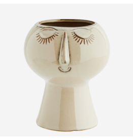 Madam Stolz Bloempot met gezicht | bruin/beige |13 x 15 | rond