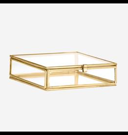 Madam Stolz Glazen doos brass 10,5x10,5x3,5