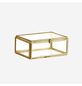 Madam Stolz Glazen doos brass 4,5x6x3,5