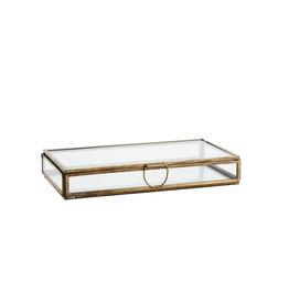 Madam Stolz Glazen doos - Rechthoek - Verouderde messing -  21 x 10 x 3 cm