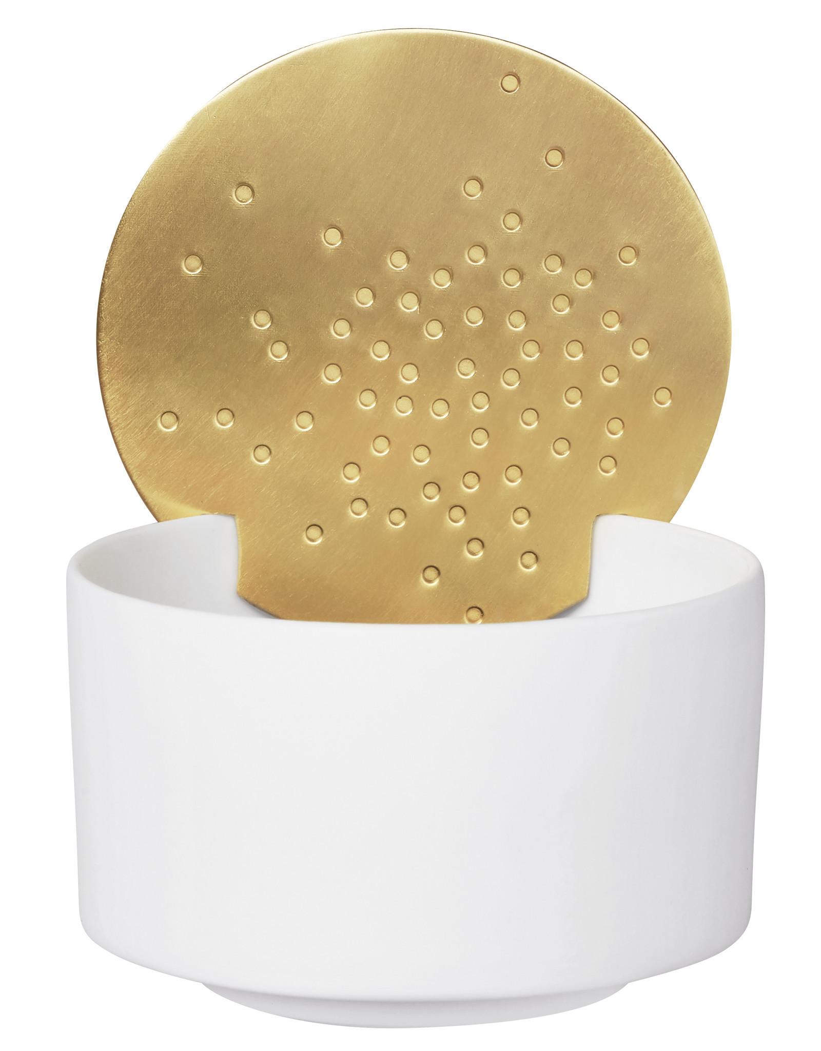 Raeder Theelicht met gouden zon d op de rand small dia:7cm Height:4,5cm