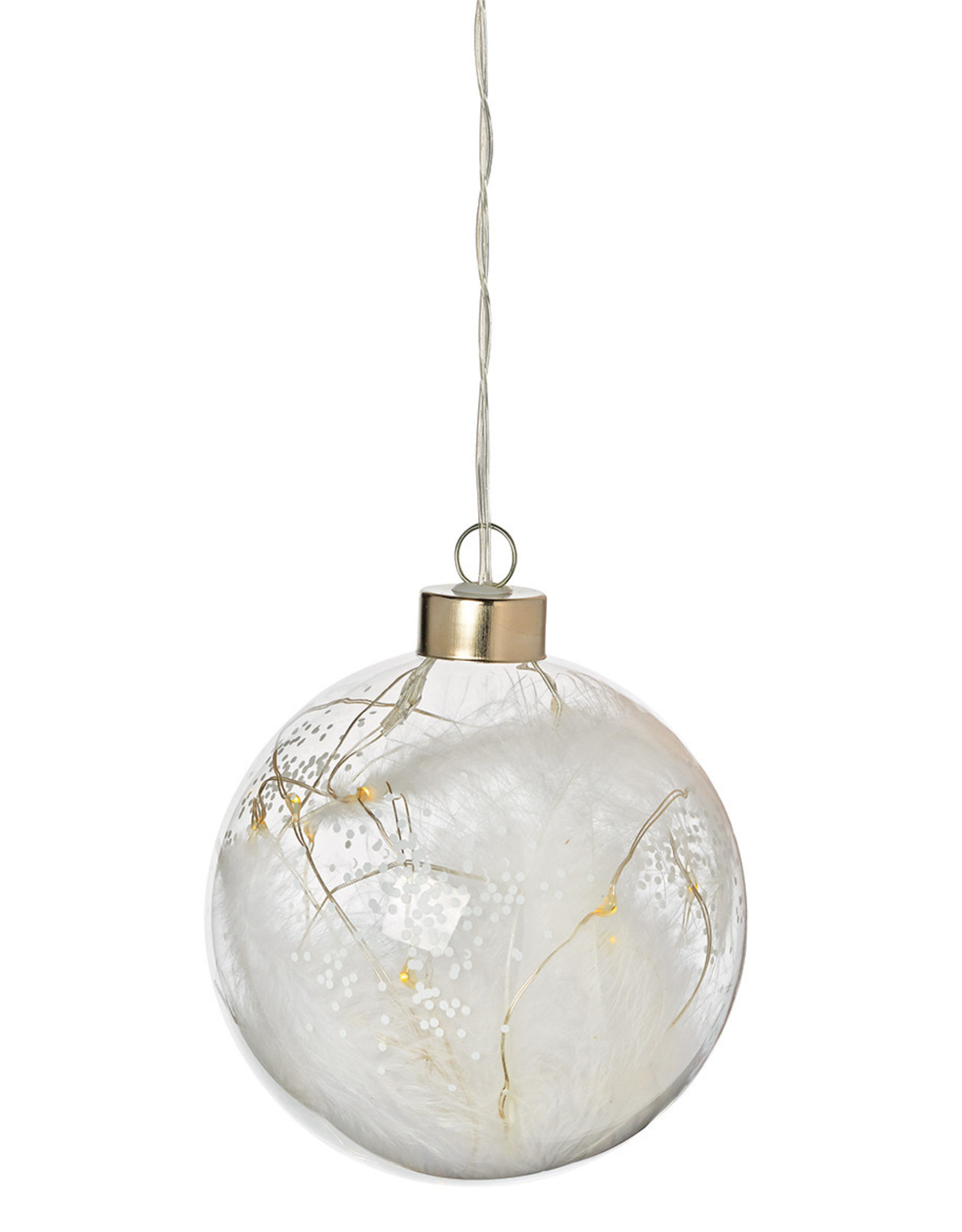 Raeder LED Bal - Glas - witte veren