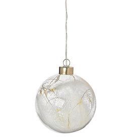 Raeder Bal glas met witte veren LED