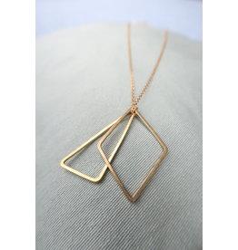 Halsketting RVS goudkleur met 2 geometrische hangers, 65cm