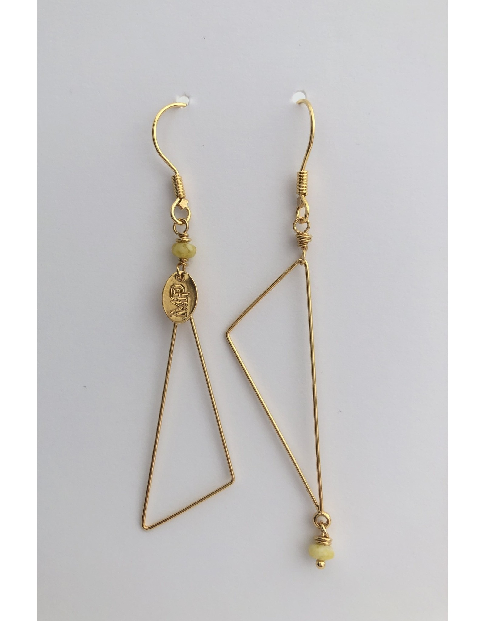 Murielle Perotti oorbel MP 2 driehoeken asym geel/goud