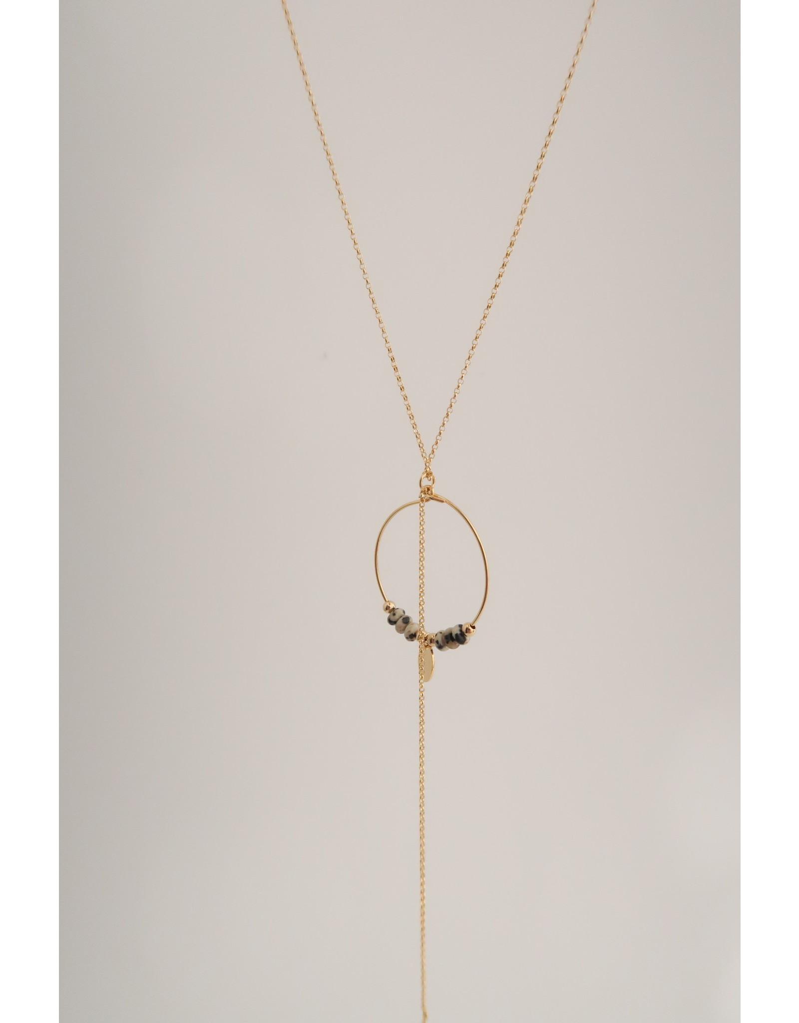 Murielle Perotti halsketting MP leopard creool/goud 50cm
