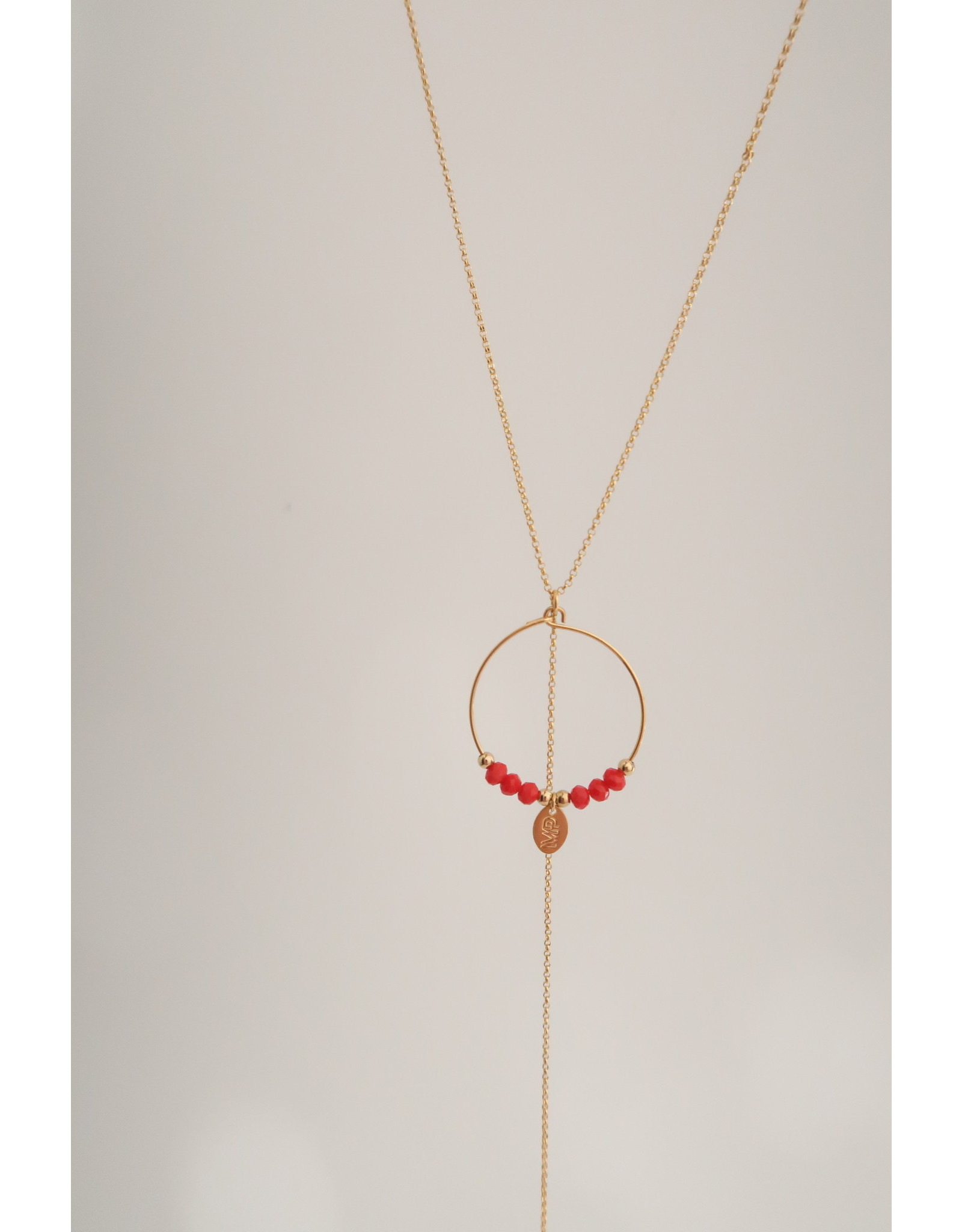 Murielle Perotti halsketting MP rood creool/goud 50cm