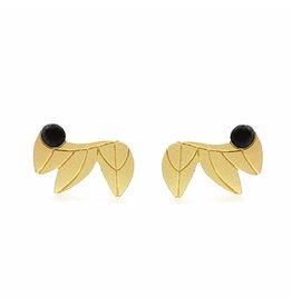 Nadja Carlotti Studs Feathers, gold plated Black