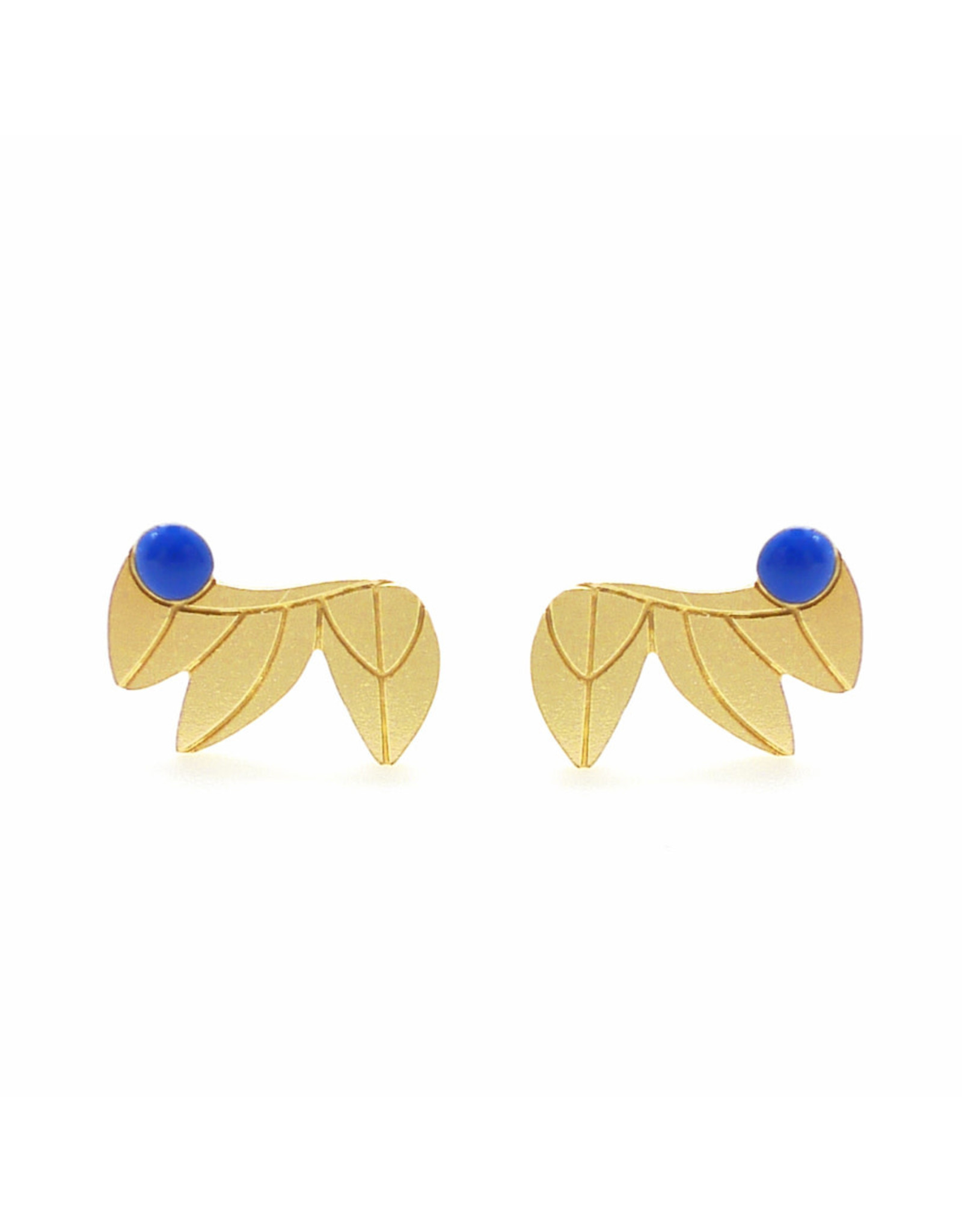 Nadja Carlotti Studs Feathers, gold plated Prusian Blue
