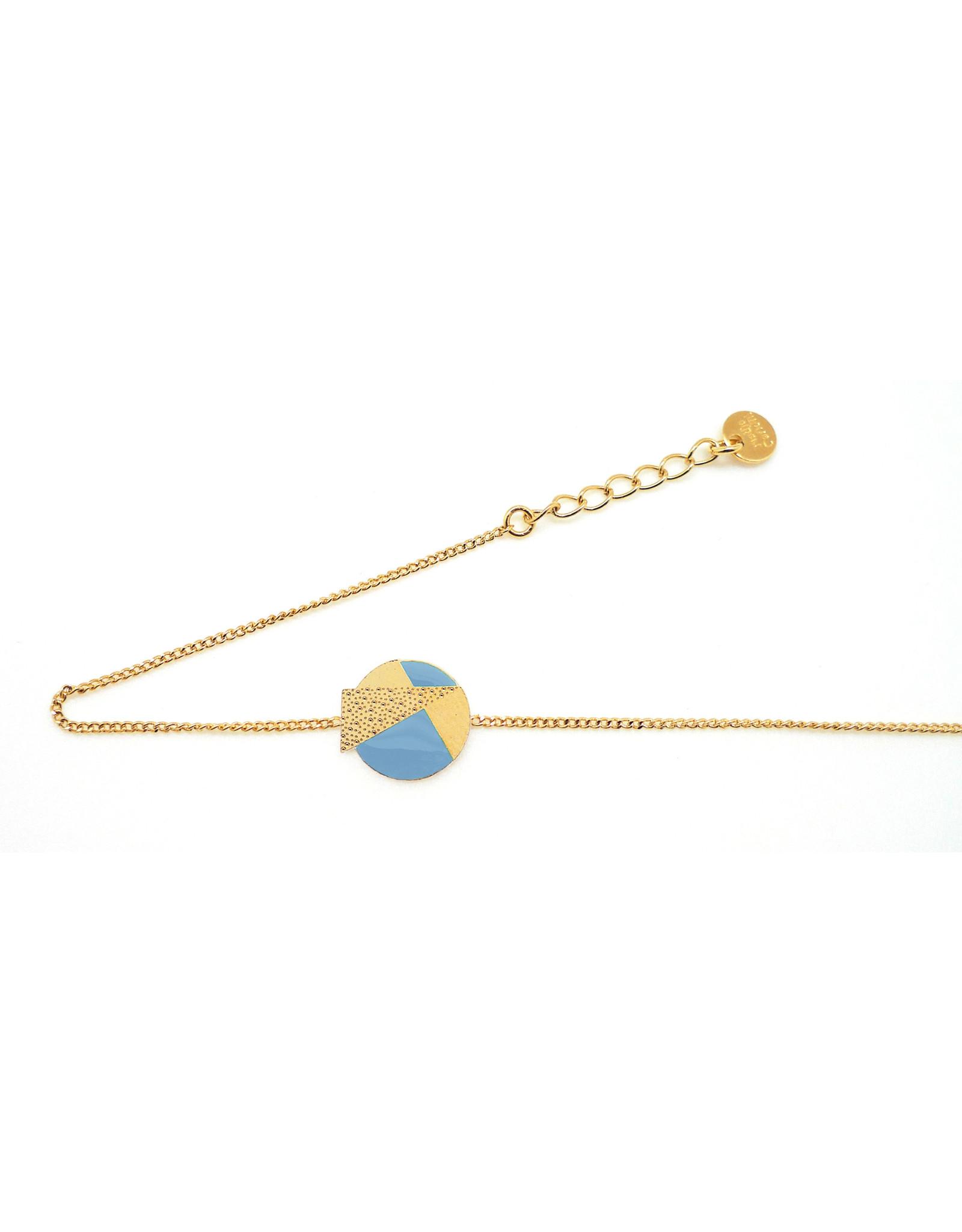 Nadja Carlotti Armband Lizzy - Licht Blauw - Messing Verguld