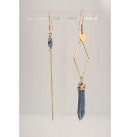 Murielle Perotti oorbel MP 1ruit asym lange steen blauw/goud