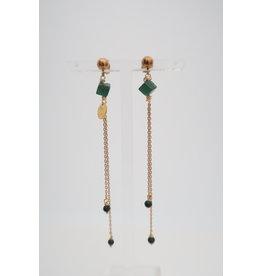 oorbel MP sym lang kralen groen/goud