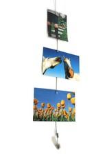 Abodee Foto en kaartenhouder met 8 magneten - zilver - 150cm